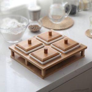 Khay mứt sứ khung gỗ 4 ngăn cao cấp