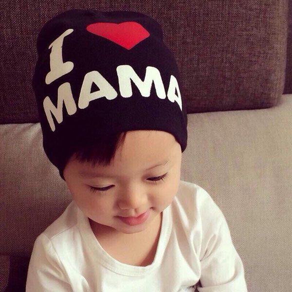 Mũ len I love Papa I love Mama