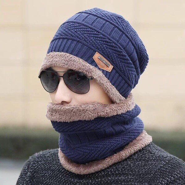 Mũ len nam kèm khăn quàng cổ