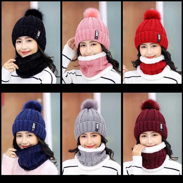 Set khăn ống mũ len quả bông cho nữ