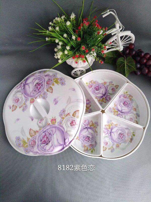 Khay đựng mứt bánh kẹo hình hoa 5 ngăn