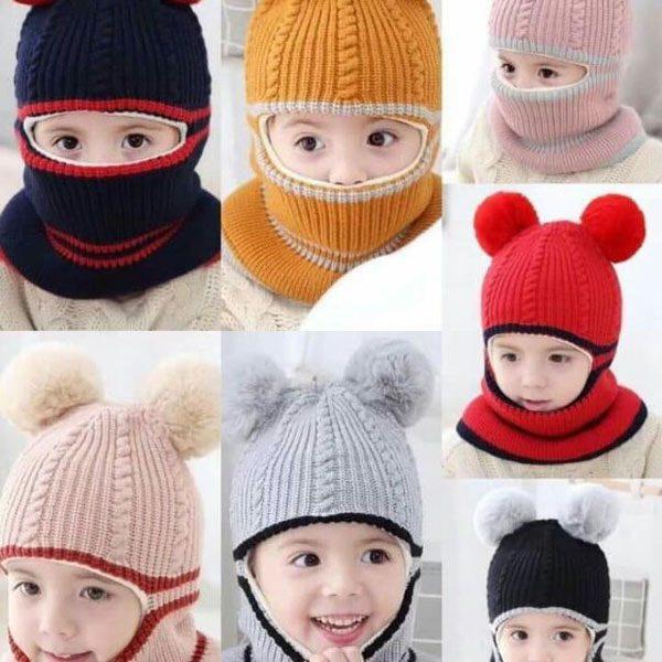 Mũ len quả bông trùm mặt cho bé