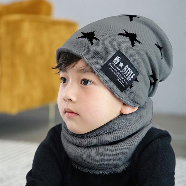 Bán buôn Set mũ len kèm khăn hình sao cho bé
