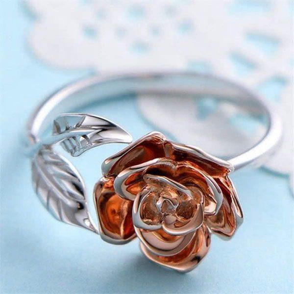 Nhẫn xi bạch kim hoa hồng độc đáo