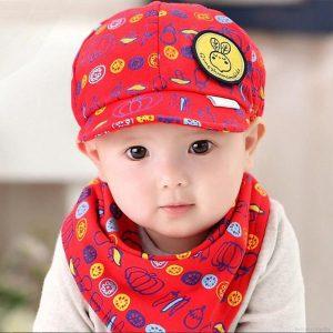Bán buôn Set khăn tam giác kèm mũ đáng yêu cho bé